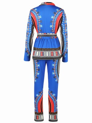 Attractive Blue Ethnic Printed Two-Piece Tie Waist Chic Online