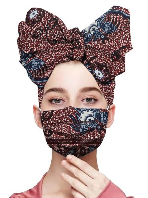 Relaxing Bowknot Shape Headscarf Elastic Ear Loop Mask For Sauntering