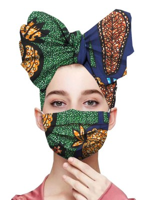 Gracious Contrast Color Headscarf Three Tiered Mask Smooth