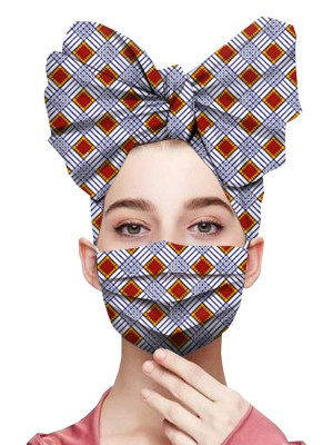 Good-Looking Plaid Print Ruched Headscarf Elastic Mask Snug Fit