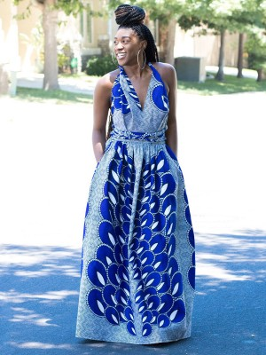 Desirable Blue Maxi Dress Sleeveless Ethnic Print Tie Women Fashion