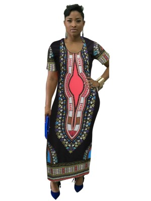 Super Sleek Black Ethnic Paint Maxi Dress Crew Neck Tops For Women