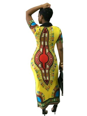 Vivifying Yellow Maxi Dress Short Sleeve African Print Outdoor
