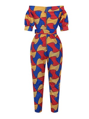 Glaring African Paint Jumpsuit Zipper Off Shoulder Women Outfit