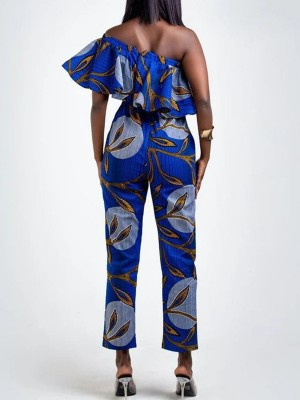 Comfortable Blue Ruffles Africa Jumpsuit Off Shoulder Casual Wear