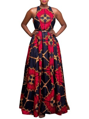 Contouring Red Floor Length Africa Dress Back Zipper For Upscale