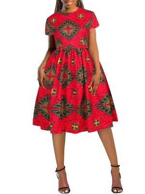 Dynamic Red Swing Hem Midi Dress African Printed Latest Fashion