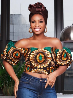 Naughty Green Tube Crop African Top Puff Sleeves For Camping