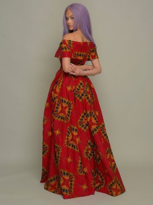 Slimming Red Maxi Dress African Paint Off Shoulder For Lounging