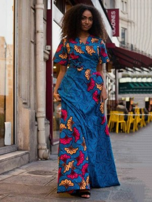 Inspired Blue Slit Tie Ethnic Pattern Maxi Dress Womens Fashion