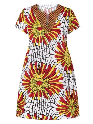 Wonderful Yellow Side Pockets Midi Dress Exotic Print Loose