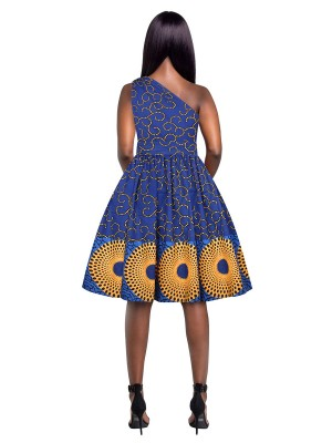 Single Shoulder Skater Dress African Paint Delightful Garment