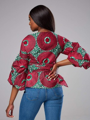 Energetic Rose Red V Neck Top Africa Printed Tie Waist