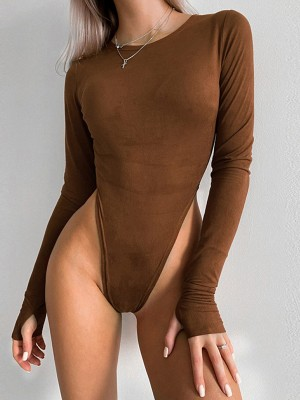 Coffee Full Sleeve High Cut Bodysuit Solid Color Free Time