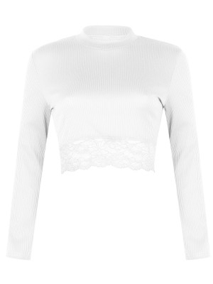 Enchanting White Screw Thread Crop Lace Patchwork Top Women's Essentials