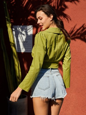Fresh Green Long Sleeves Cropped Shirt V Neck Female Fashion