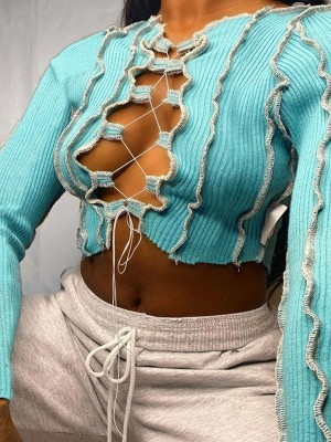 Crop Top Blue Colorblock Lace-Up With Drawstring Woman