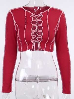 Red Cropped Shirt Crew Neck Hollow Out Feminine Elegance