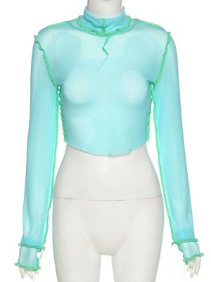 Blue Long Sleeve Crop Top Layered Cuffs Mesh Fashion Shopping