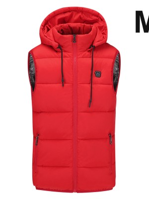 Red Electric USB Heating Hooded Warm Vest Casual Comfort