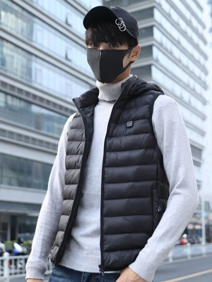 Black Zipper Warm Electric Heating Hooded Vest Leisure Fashion