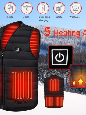 Heating Vest 3 Gear Black Zipper 5 Fever Area Versatile Item