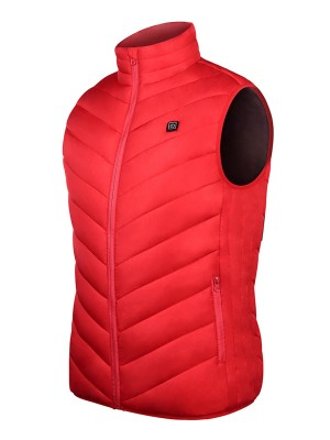 Red Stand-Up Neck Heating Vest Queen Size Natural Fit