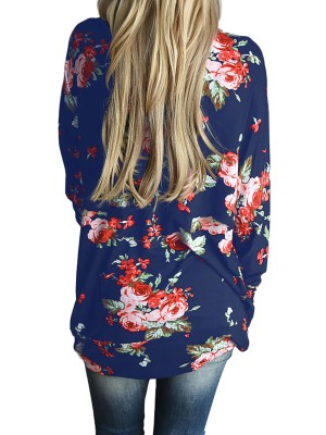 Chic Blue Asymmetrical Trim Open Front Jacket Floral Print