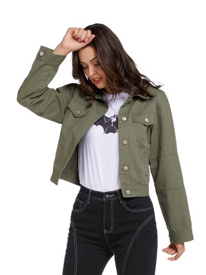 Woman Army Green Long Sleeve Denim Jacket Button Slim Fit