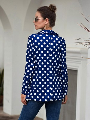 Astonishing Purplish Blue Long Sleeves Polka Dot Formal Jacket Feminine Charm