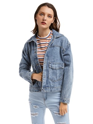 Uniquely Front Button With Pockets Denim Jacket For Women