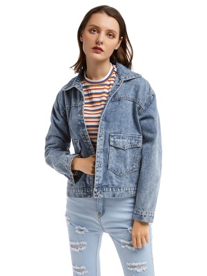 Dramatic Button Pockets Back Decal Denim Jacket Glamor Women