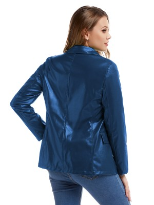 Snug Fit Blue Turndown Neck PU Jacket Fake Pocket Shop Online