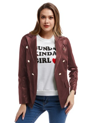 Wine Red Double-Breasted Jacket PU Long Sleeve Women's Fashion