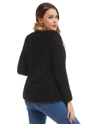Modern Black Front Open Long-Sleeved Plush Jacket Feminine Confidence