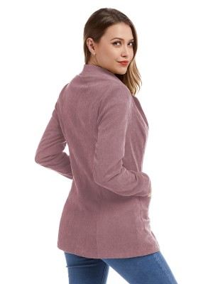 Distinct Pink Front Button Pocket Jacket Lapel Neck Unique Fashion