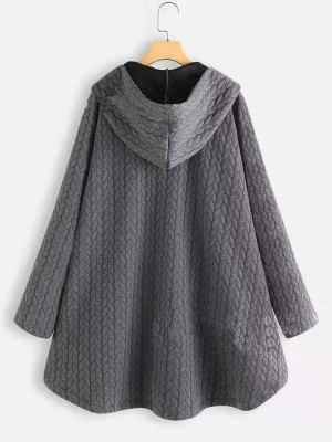 Simplicity Gray Hooded Collar Coat Ruffle Hem Newest Fashion