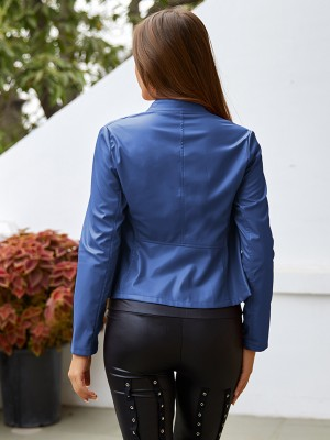 Eye Catching Blue Button PU Zipper Jacket Standing Neck Soft-Touch