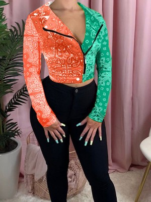 Colorblock Long Sleeve Cropped Jacket Cheap Wholesale