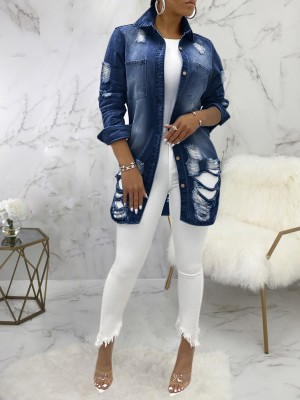 Deep Blue Hole Denim Jacket Oversize Turndown Neck Good Elasticity