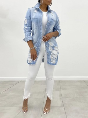 Light Blue Front Button Ripped Denim Jacket Lapel For Playing