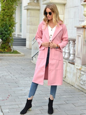 Pink Long Sleeve Turndown Neck Coat Plain Casual Wear