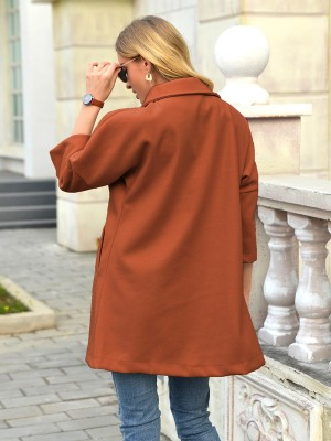 Brown Turndown Neck Coat Plain With Pockets Cheap Fashion Style