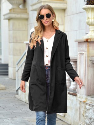 Black Turndown Collar Solid Color Coat Slimming Fit