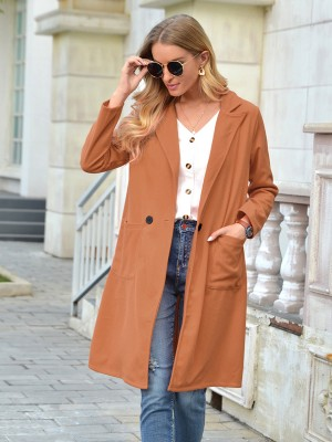 Khaki Long Sleeve Button Front Pockets Coat Feminine Fashion