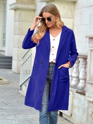 Blue Coat Midi Length Full Sleeve Pockets For Outdoor