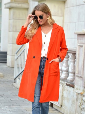 Orange Pockets Midi Length Solid Color Coat Leisure Fashion