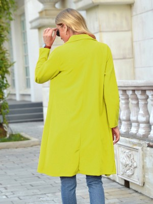 Yellow Turndown Neck Coat Pocket Full Sleeve Relax Fit