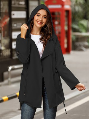 Black Hooded Collar Solid Color Drawstring Coat Simplicity