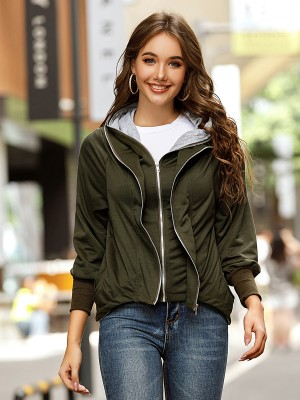 Army Green Zipper Pockets Solid Colar Coat Casual Women Clothes Online
